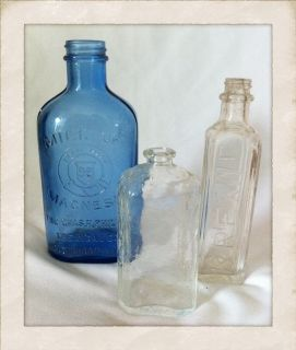 SET OF 3 VINTAGE MEDICINE BOTTLES COBALT BLUE MILK OF MAGNESIA KREML