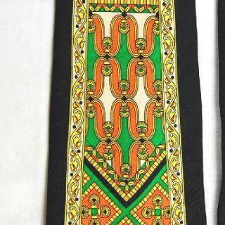 Rush Limbaugh Black Orange Green Art Deco Silk Neck Tie