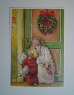 Lisi Martin Swedish Christmas Card Boy Girl Door 1986
