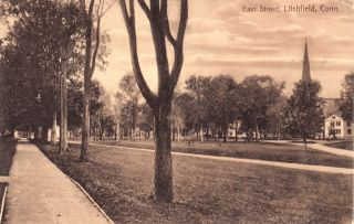 Litchfield Conn East Street Scene Postcard Ct