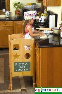 Guidecraft Wooden Little Kids Kitchen Helper Step Stool