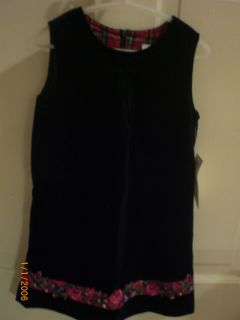 Clothes LITTLE ME Holiday Jumper Dress Black with Red Floral Trim Sz 4