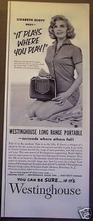 1953 Westinghouse Portable Radio Lizabeth Scott Ad