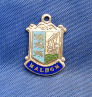 Vintage Sterling Silver Travel Souvenir Shield Charm Maldon England