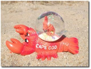 Cod Lobster Desk Figurine Decor Special 2 Lobsters Snow Globe