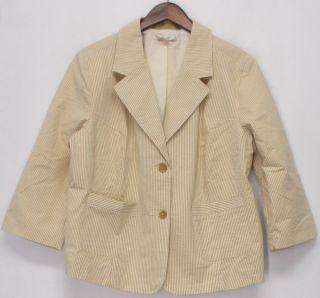 Liz Claiborne New York Size 1x Button Front Blazer Beige New
