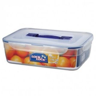 Lock Lock Large Rectangular Storage Container Clear w Blue Handle Air