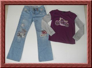 Gap Kids Tween Queen 1969 Patchwork Jeans Motorcycle Shirt Outfit 8