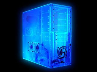 UV Clear Blue Logisys CS888UVBL Acrylic Mid Tower Computer ATX Case