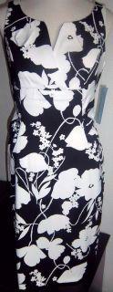 London Times Sz 10 Black White Split Neckline Dress