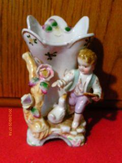 Vintage Victorian Style Porcelain Vase Boy feeding Duck Floral Motif