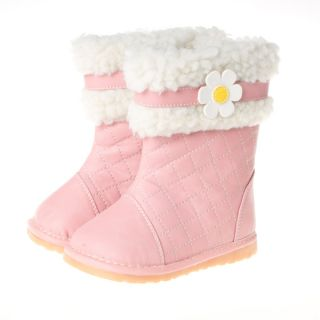 Little Blue Lamb Pink Flower Leather Fleece Squeaky Shoes Boots Baby