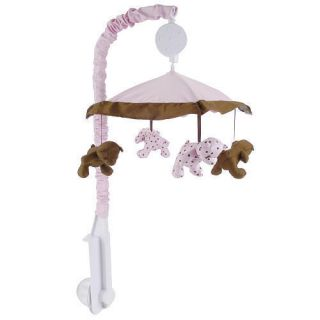 New Little Boutique Girls Pink Brown Bears Luxe Crib Musical Mobile