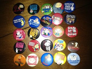 of 25 Badges Pins Buttons Peter Stewie Lois Chris Brian Griffin