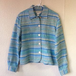 Womens Coldwater Creek Long Sleeve Button Down Multi Color Jacket Size