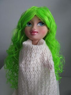 Neon Green Fun Long Curly Wavy Wig Fake Hair with Bangs Party Costume
