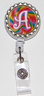 Retractable ID Badge Holder Initial Lollipop Swirl
