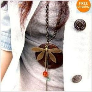Fashion Womens Wood Dragonfly Pendant Long Necklaces X185 Great Gift