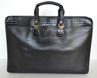 LOMBARDO Vintage BLACK CROC LEATHER BRIEFCASE LAPTOP PORTFOLIO