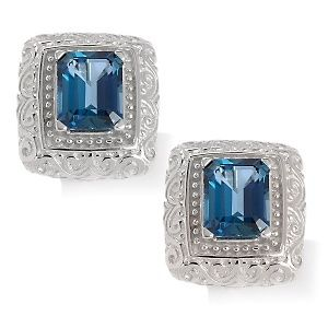 7ct London Blue Topaz Emerald Cut Sterling Earrings