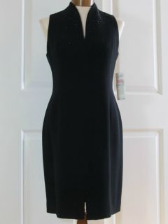 Jones New York Little Black Dress with Black Rhinestones Size 8 Petite