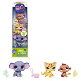 Littlest Pet Shop I Sparkle 3 pack Elephant Orangutan Cat pets 2118