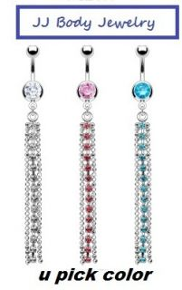 Navel Belly Button Ring Multi Gem Long Chain Dangle Piercing Body