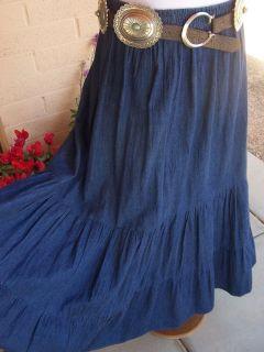 Full Long Western Prairie Style Denim Tiered Skirt XL