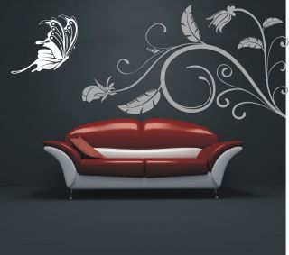 Butterfly Leaves Wall Stickers Wallpaper Art Living Room Decal