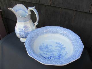 Century Wash Pitcher Bowl Blue White Ironstone China Longport