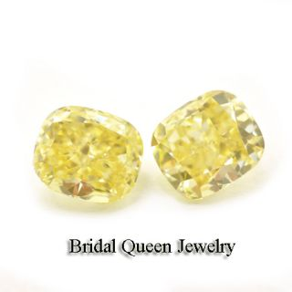 Pair Fancy Intense Yellow GIA Loose Diamond Cushion Cut Vs