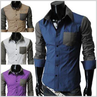 Mens Slim Fit Plaid Check Pattern Pocket Loong Sleeve Shirts