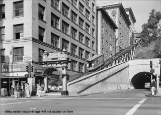 1960 Downtown Los Angeles Trolley Angels Flight Photo