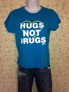 Local Celebrity Hugs not Drugs Womens Juniors Punk Emo Blue Shirt s L