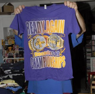 LOS ANGELES LAKERS DECADES OF CHAMPIONS T SHIRT 2009 2010 NBA CHAMPS