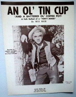 Lorne Greene Sheet Music An OL Tin Cup Bonanza