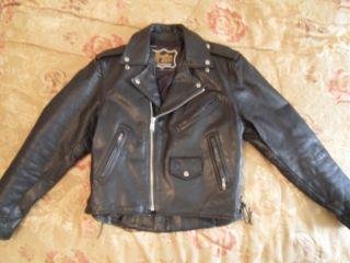 Heavy Black Leather Motorcycle Jacket