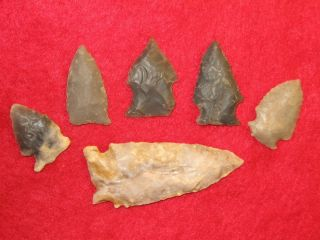 Indian Artifacts Arrowheads 6 Kentucky Points
