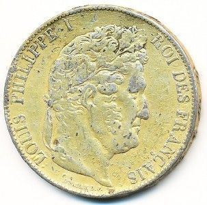 France 5 Franc 1846 K Louis Philippe Silver Gold Plated