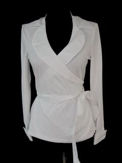Fontaine White Stretch Fit Collared Louella Wrap Top Shirt 40