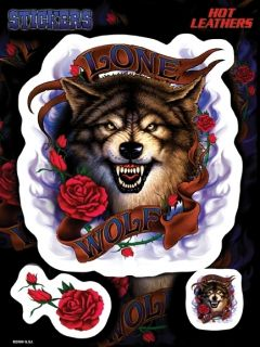 Lone Wolf Flames Red Roses 3 Sticker Vinyl Decal Set