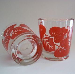 Glass Red Ivy Leaf Tumblers Set of 2 Vintage Lowball Glasses Leaves