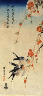 Traditional Japanese Swallows on Peach Tree Bird Print Picture by Ando