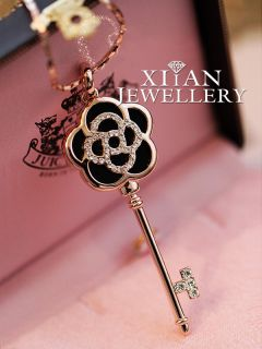 Black Rose Camellia Long Key Necklace w Swarovski Crystal 18K Rose