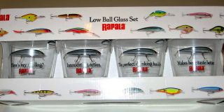 Rapala Fishing 4 PC Low Ball Collector Glass Set New