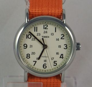 T2N745 Timex Weekender Slip Through Womens Orange Nylon Strap White