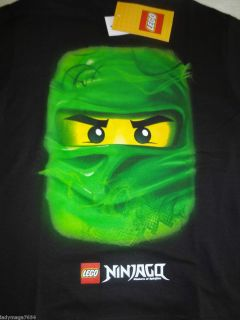 Lego NINJAGO Legend Of Spinjitsu Loyd GREEN NINJA FACE Boys T Shirt 10