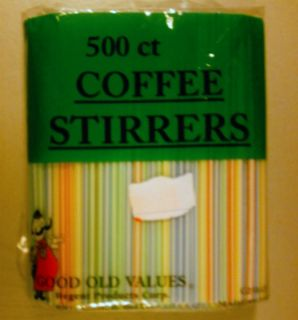 Good Old Values Coffee Stirrers 500 Count NIP