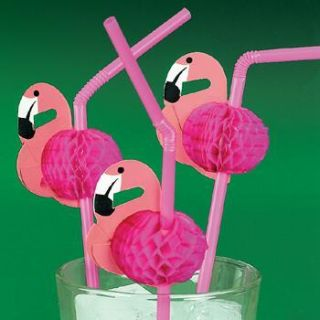 24 Pink Flamingo Straws Luau Tropical Party Table Decorations 2 Dozen