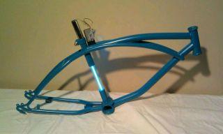 "Custom Turquoise 20"" Lowrider Cruiser Bike Bicycle Frame with Neon"